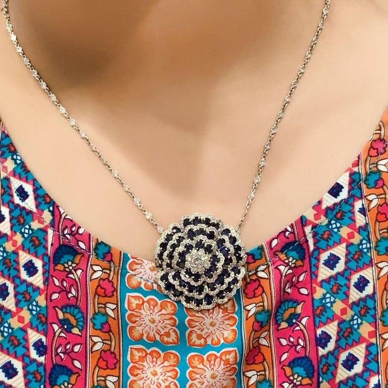 Sapphire Diamond Flower Necklace For Sale 2