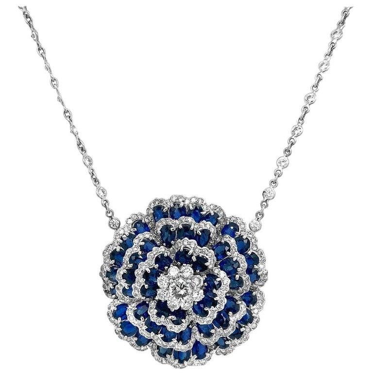 Sapphire Diamond Flower Necklace For Sale