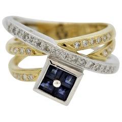 Sapphire Diamond Gold and Platinum Crossover Ring