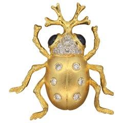 Sapphire Diamond Gold Beetle Brooch Pin
