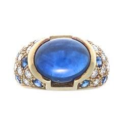 Sapphire Diamond Gold Cocktail Ring
