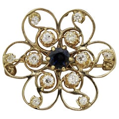 Sapphire Diamond Gold Flower Brooch