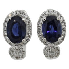 Sapphire Diamond Gold Huggie Earrings