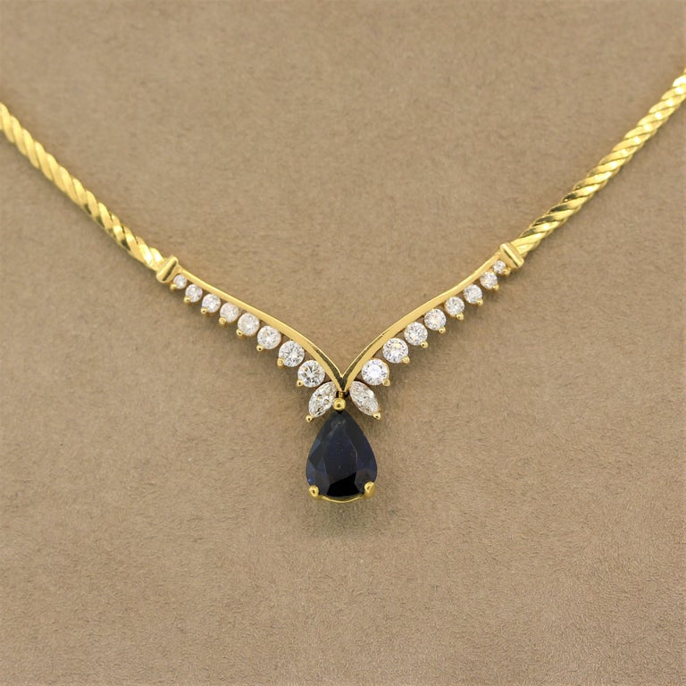 Sapphire Diamond Gold Necklace In New Condition For Sale In Beverly Hills, CA