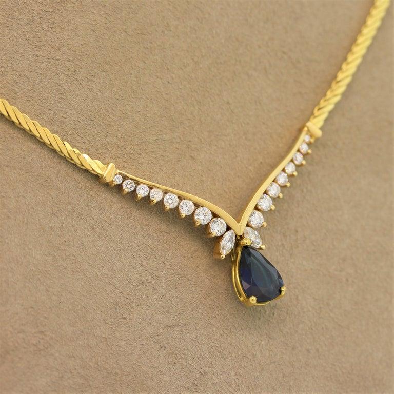 Women's Sapphire Diamond Gold Necklace For Sale