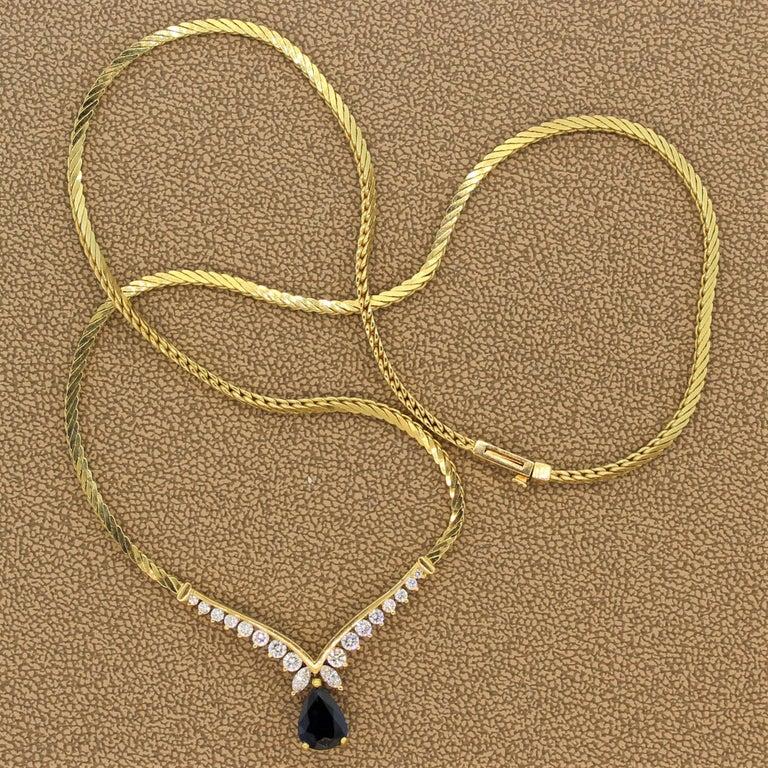 Sapphire Diamond Gold Necklace For Sale 2