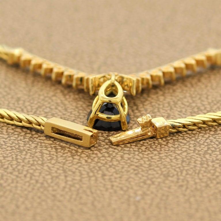Sapphire Diamond Gold Necklace For Sale 3