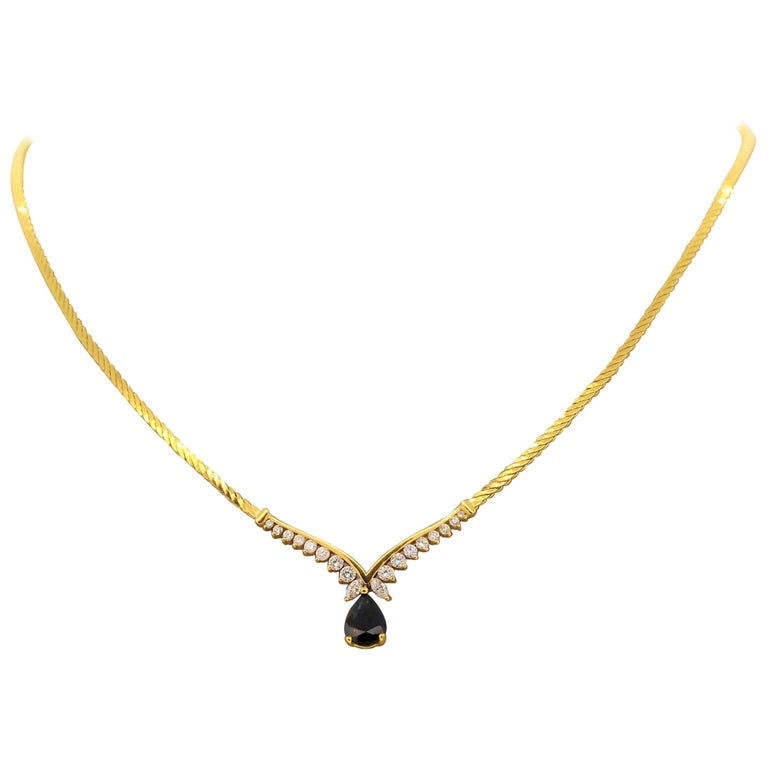 Sapphire Diamond Gold Necklace For Sale