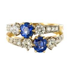 Sapphire Diamond Gold Platinum Lovers Toi et Moi Ring