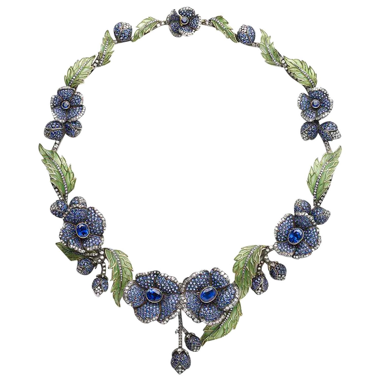 Sapphire Diamond Gold Plique à Jour Flower Necklace