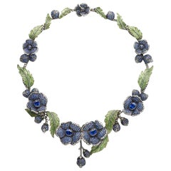 Sapphire Diamond Gold Plique à Jour Flower Necklace