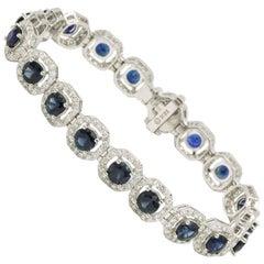 Sapphire Diamond Halo Bracelet 13.92 Carats 18 Karat White Gold