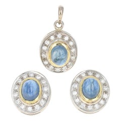 Sapphire & Diamond Halo Earrings & Pendant Set 18k Gold Pierced Cabochon 2.37ctw