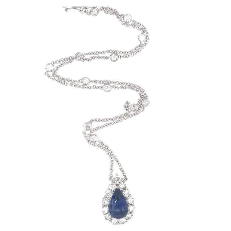 Sapphire Diamond Halo Pendant on Diamond by the Yard 6.11 Carat For Sale