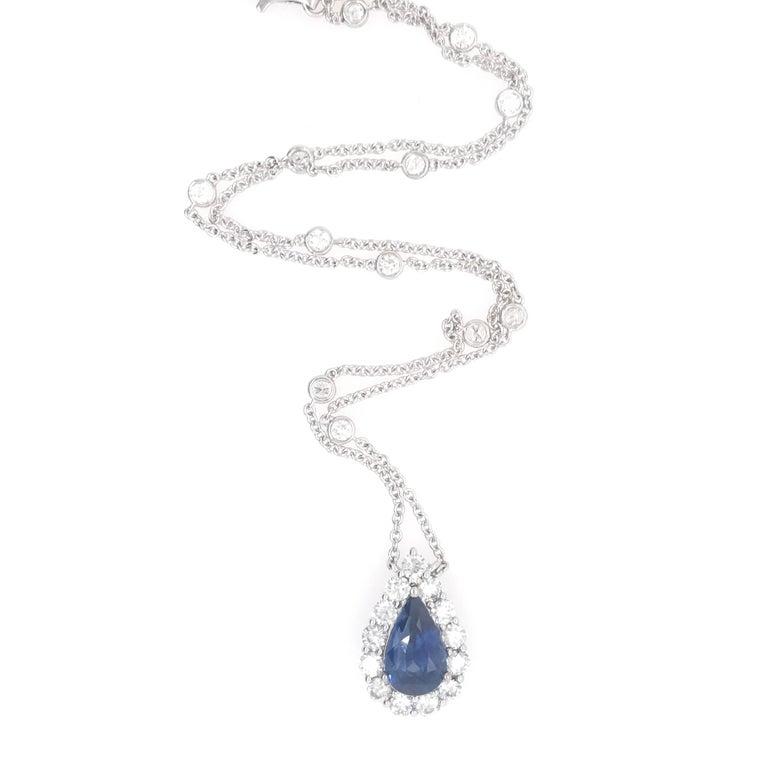 Contemporary Sapphire Diamond Halo Pendant on Diamond by the Yard 6.11 Carat For Sale