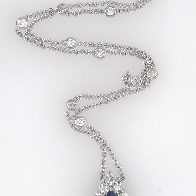 Pear Cut Sapphire Diamond Halo Pendant on Diamond by the Yard 6.11 Carat For Sale
