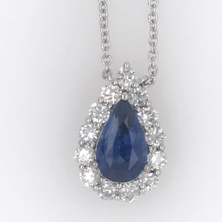 Sapphire Diamond Halo Pendant on Diamond by the Yard 6.11 Carat In New Condition For Sale In New York, NY
