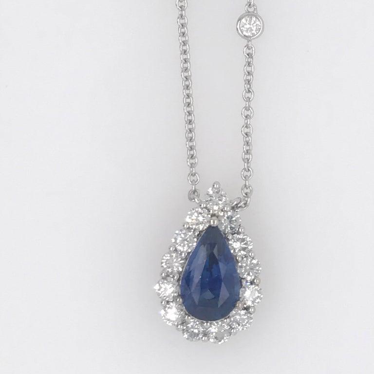 Women's Sapphire Diamond Halo Pendant on Diamond by the Yard 6.11 Carat For Sale