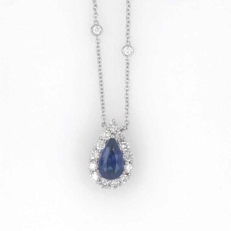 Sapphire Diamond Halo Pendant on Diamond by the Yard 6.11 Carat For Sale 1