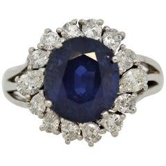Sapphire Diamond Halo Platinum Ring