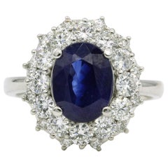 Sapphire Diamond Halo Ring 4.59 Carat 18 Karat White Gold