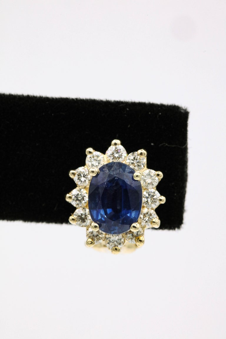 Sapphire Diamond Halo Stud Earrings 4.14 Carat 14 Yellow Gold In New Condition For Sale In New York, NY