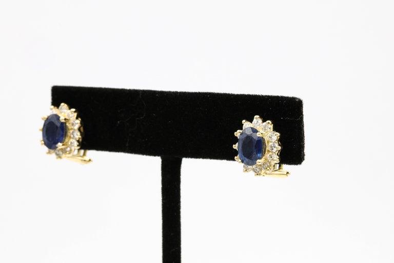 Women's Sapphire Diamond Halo Stud Earrings 4.14 Carat 14 Yellow Gold For Sale