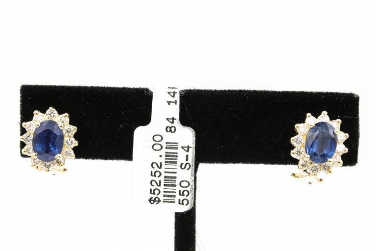 Sapphire Diamond Halo Stud Earrings 4.14 Carat 14 Yellow Gold For Sale 2