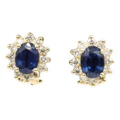 Sapphire Diamond Halo Stud Earrings 4.14 Carat 14 Yellow Gold