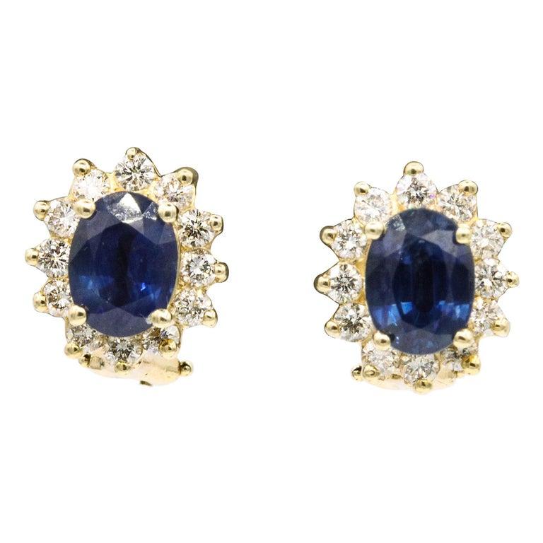 Sapphire Diamond Halo Stud Earrings 4.14 Carat 14 Yellow Gold For Sale