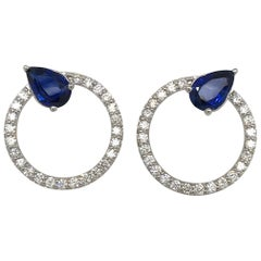Sapphire Diamond Hoop Earrings 4.91 Carat 14 Karat White Gold