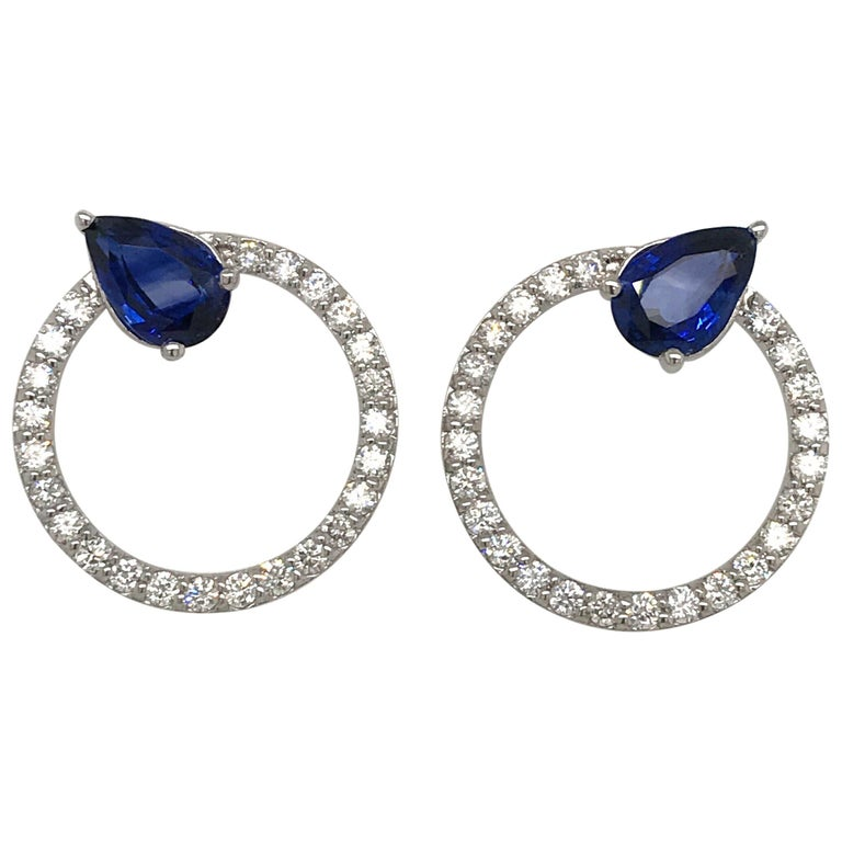 Sapphire Diamond Hoop Earrings 4.91 Carat 14 Karat White Gold For Sale