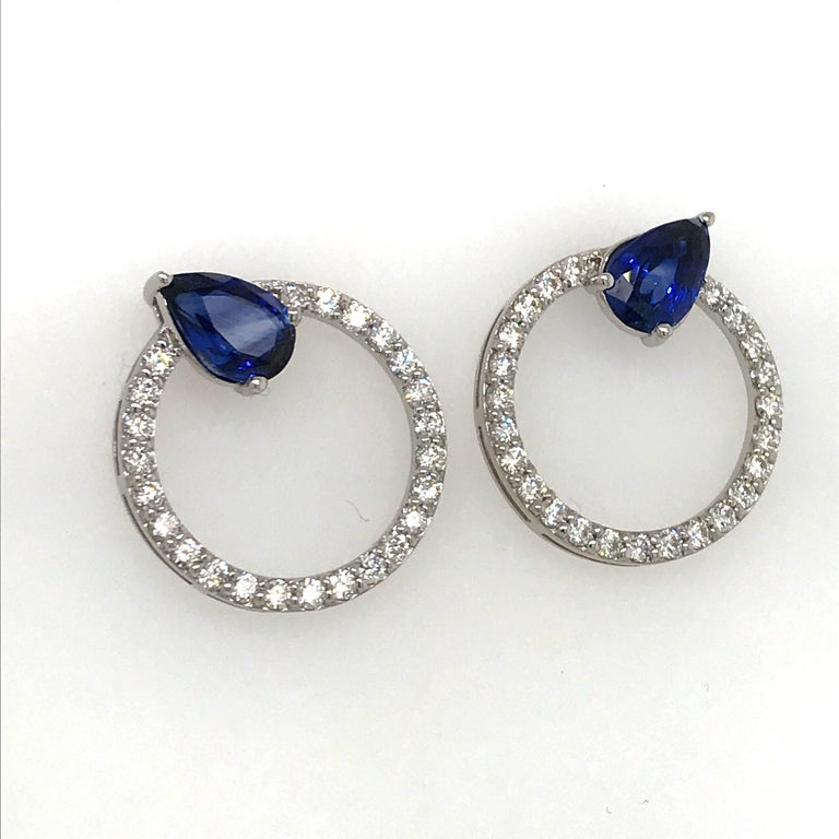 Contemporary Sapphire Diamond Hoop Earrings 4.91 Carat 14 Karat White Gold For Sale