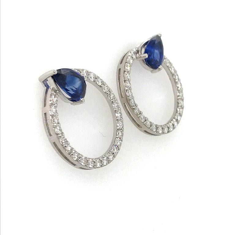Pear Cut Sapphire Diamond Hoop Earrings 4.91 Carat 14 Karat White Gold For Sale