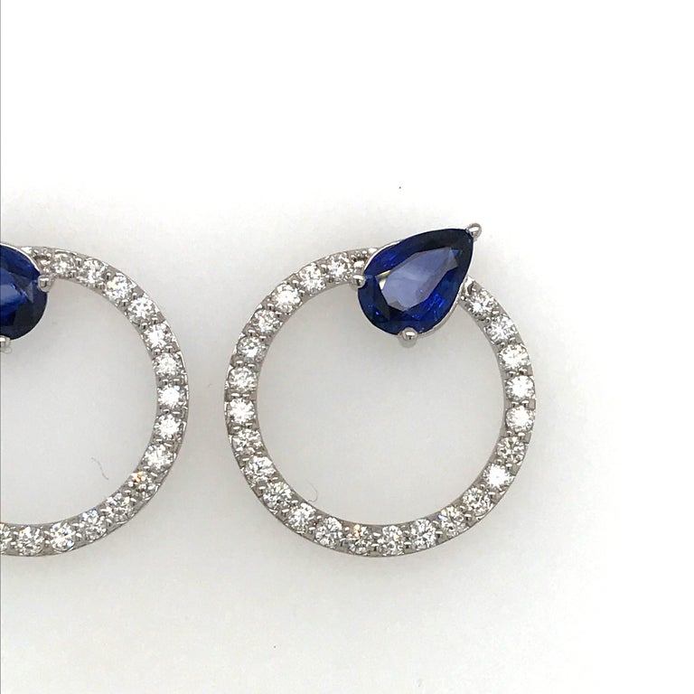 Sapphire Diamond Hoop Earrings 4.91 Carat 14 Karat White Gold In New Condition For Sale In New York, NY
