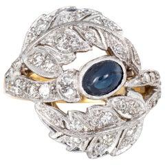 Sapphire Diamond Leaf Ring Vintage 18 Karat Yellow Gold Estate Fine Jewelry