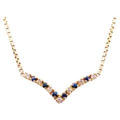 Sapphire Diamond Necklace, Blue Sapphire, V Necklace, Chevron, Heavy Box Chain