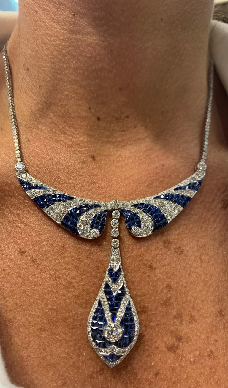 Sapphire and Diamond Necklace In Excellent Condition For Sale In New York, NY