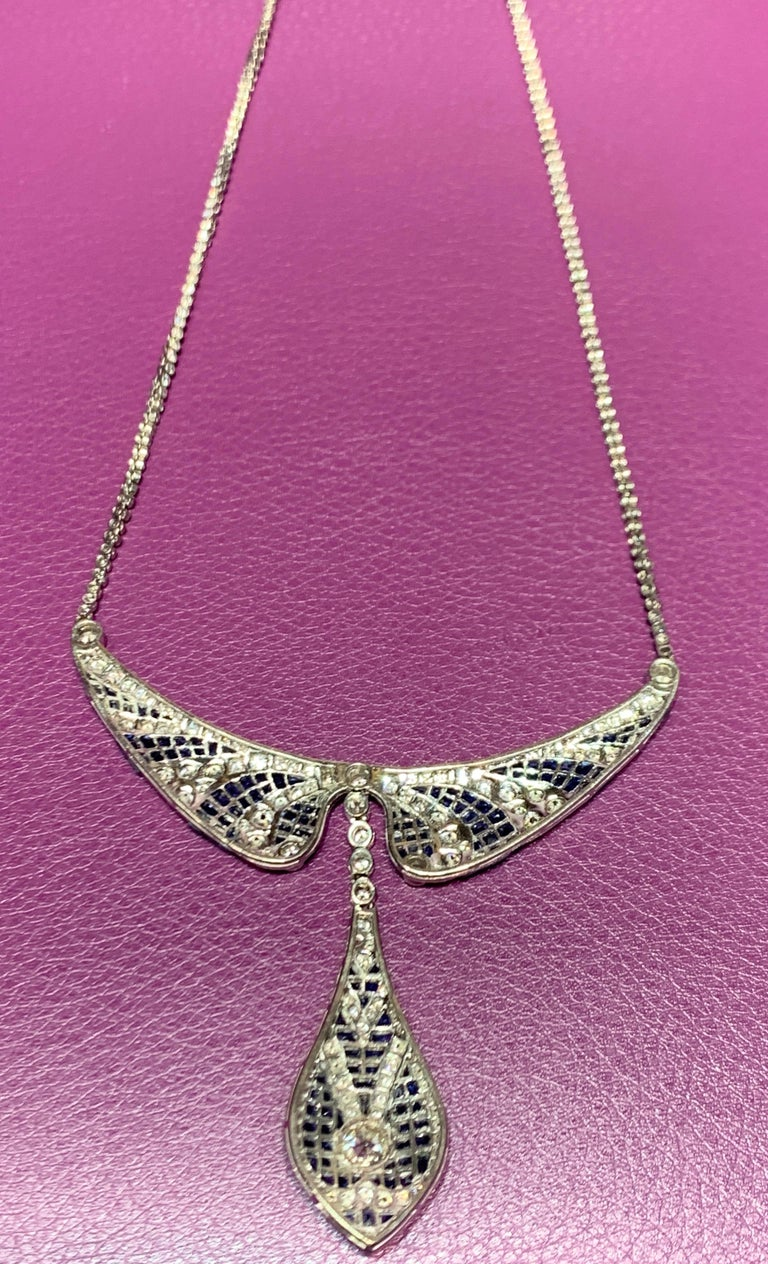 Sapphire and Diamond Necklace For Sale 1