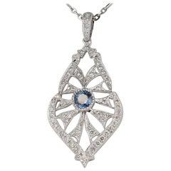 Sapphire Diamond Necklace in 14 Karat White Gold