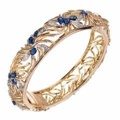 Sapphire Diamond Open Work Bangle Bangle Bracelet