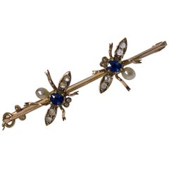 Sapphire Diamond Pearl Bee Brooch, English, circa 1900