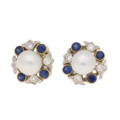 Sapphire, Diamond and Pearl Cluster Stud Earrings