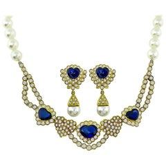 Sapphire Diamond Pearl Heart Necklace and Earrings Set