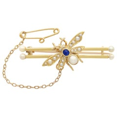 Sapphire Diamond Pearl Yellow Gold 'Insect' Brooch, Antique Victorian