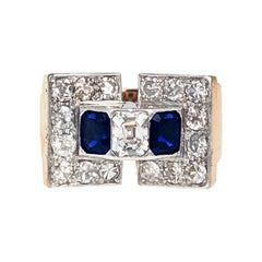 Sapphire Diamond Platinum and Gold Retro Ring