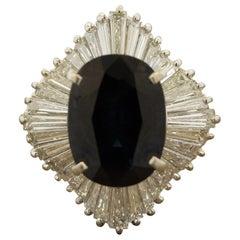 Sapphire Diamond Platinum Ballerina Ring