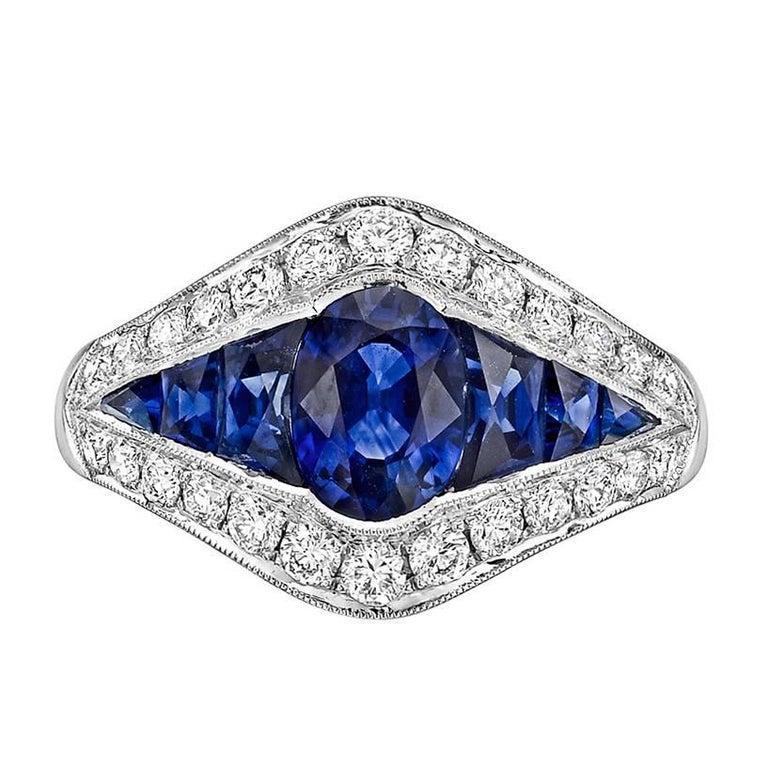 Women's Sapphire Diamond Platinum Dress Ring For Sale