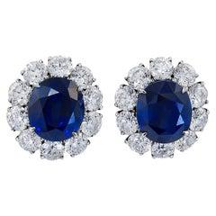 Sapphire Diamond Platinum Ear Clips