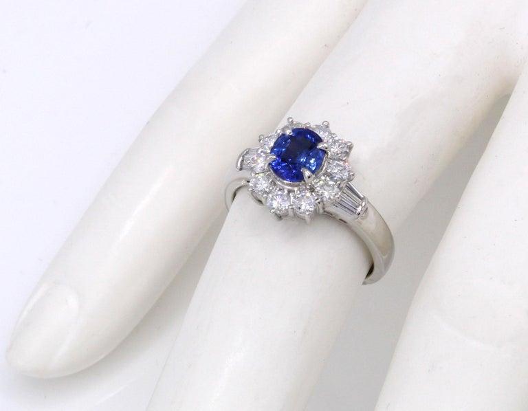 Oval Cut Sapphire Diamond Platinum Engagement Ring For Sale